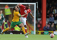 Bristol - Saturday, October 18th, 2008: Marvin Elliot of Bristol City and Lee Croft of Norwich City during the Coca Cola Championship match at Ashton Gate, Bristol. (Pic by Alex Broadway/Focus Images)