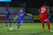 AFC Wimbledon midfielder Max Sanders (23) passing the ball during the Leasing.com EFL Trophy match between AFC Wimbledon and Leyton Orient at the Cherry Red Records Stadium, Kingston, England on 8 October 2019.