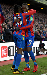 "Crystal Palace's Bakary Sako celebrates scoring his side's first goal of the game with team mate Christian Benteke during the Premier League match at Selhurst Park, London. PRESS ASSOCIATION Photo. Picture date: Saturday January 13, 2018. See PA story SOCCER Palace. Photo credit should read: Daniel Hambury/PA Wire. RESTRICTIONS: EDITORIAL USE ONLY No use with unauthorised audio, video, data, fixture lists, club/league logos or ""live"" services. Online in-match use limited to 75 images, no video emulation. No use in betting, games or single club/league/player publications"