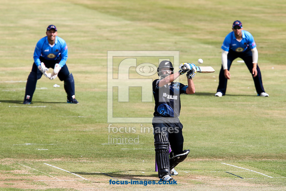 Anton Devcich of New Zealand A (centre) plays a high ball during the Tour Match match at the County Ground, Northampton, Northampton<br /> Picture by Andy Kearns/Focus Images Ltd 0781 864 4264<br /> 31/07/2014