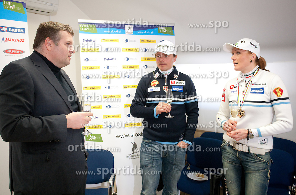 Tomaz Lovse of SZS, coach Ivan Hudac and Cross country skier Petra Majdic of Slovenia at press conference at the end of her sports career on March 22, 2011 in SZS, Ljubljana, Slovenia. (Photo By Vid Ponikvar / Sportida.com)