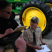 BATH -- 5/25/15 -Memorial Day Parade organizers Dan Eosco, right, and Shane McKenna discuss details around parade management prior to the parade's start on Monday morning. <br />