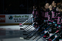 KELOWNA, BC - SEPTEMBER 21: Kelowna Rockets line up for opening ceremonies against the Spokane Chiefs at Prospera Place on September 21, 2019 in Kelowna, Canada. (Photo by Marissa Baecker/Shoot the Breeze)