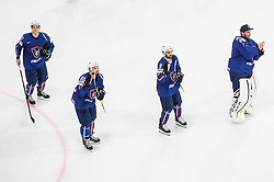 Jordann Perret of France, Teddy da Costa of France, Damien Fleury of France, Florian Hardy of France celebrate after winning during the 2017 IIHF Men's World Championship group B Ice hockey match between National Teams of France and Belarus, on May 12, 2017 in AccorHotels Arena in Paris, France. Photo by Vid Ponikvar / Sportida
