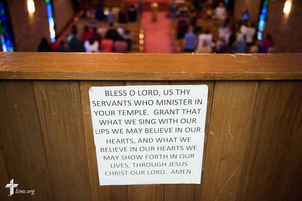 A printed prayer is affixed to the balcony on Sunday, Nov. 22, 2015, at Salem Lutheran Church in Springdale, Ark. LCMS Communications/Erik M. Lunsford