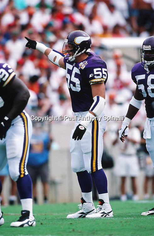 Minnesota Vikings linebacker Jack Del Rio (1) points during the NFL football game against the Tampa Bay Buccaneers on Oct. 15, 1995 in Tampa, Fla. The Bucs won the game 20-17 in overtime. (©Paul Anthony Spinelli)