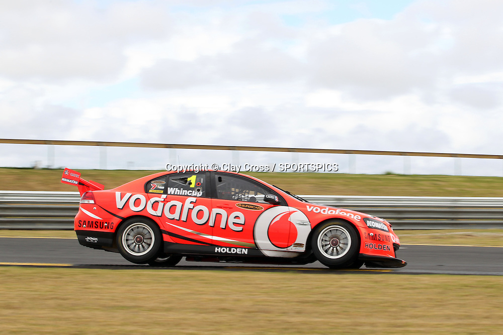 Jamie Whincup (TeamVodafone Holden) hitting the fence. 2012 V8 Supercar Championship Series Test Day. Sandown International Raceway, Melbourne Victoria on Saturday 11 February 2012. Photo : Clay Cross / photosport.co.nz
