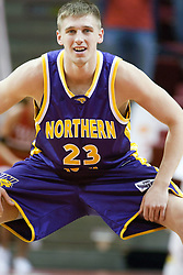 14 October 2006:  Brooks McKowen stretches out.....In a game that involved both coaches as much as the players, the Northern Iowa Panthers plucked the Illinois State University Redbirds in a Missouri Valley Conference game by a score of 67 - 52. Competition took place at Redbird Arena in Normal Illinois