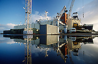 Car-carrying ship in dock Melbourne Australia
