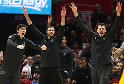 April 29, 2018 - Cleveland, OH, USA - Cleveland Cavaliers forward Cedi Osman, Larry Nance Jr. and Ante Zizic celebrate a three-pointer from teammate J.R. Smith against the Indiana Pacers in the first quarter of Game 7 of the Eastern Conference First Round series on Sunday, April 29, 2018 at Quicken Loans Arena in Cleveland, Ohio. The Cavs won the game, 105-101. (Credit Image: © Leah Klafczynski/TNS via ZUMA Wire)