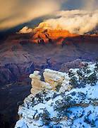 A winter storm on Brahma and Zoroaster temples at the Grand Canyon.