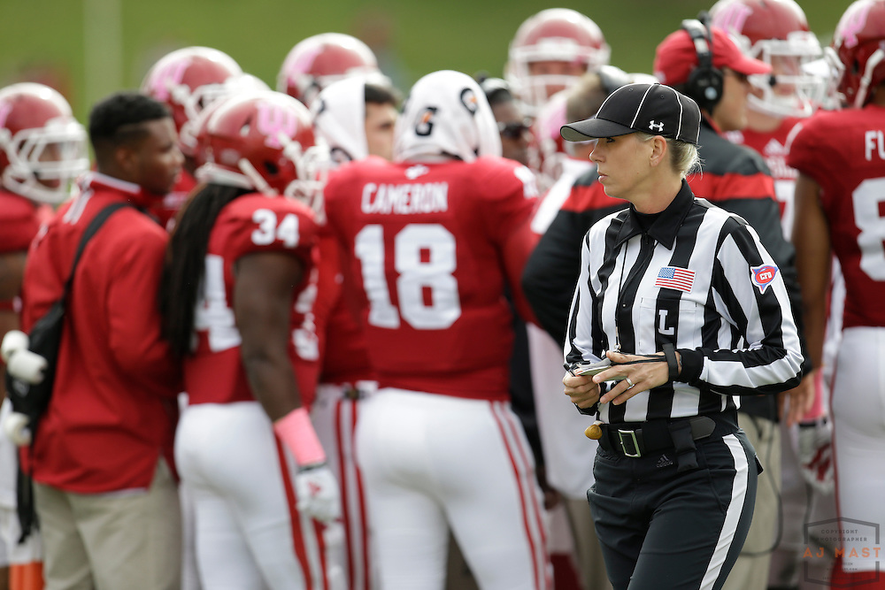 04 October 2014: Line Judge Sarah Thomas as the Indiana Hoosiers played North Texas in a NCAA college football game in Bloomington, IN.