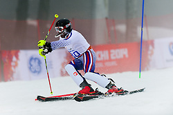 Valerii REDKOZUBOV competing in the Alpine Skiing Super Combined Slalom at the 2014 Sochi Winter Paralympic Games, Russia