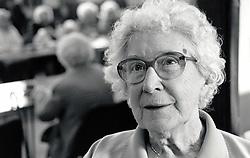 Portrait of an elderly woman, Crabtree lunch club, Nottingham, UK 1986