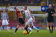 Bradford City midfielder Romain Vincelot (6) battles with Millwall striker Aiden O'Brien (22)  during the EFL Sky Bet League 1 match between Bradford City and Millwall at the Northern Commercials Stadium at Valley Parade, Bradford, England on 21 January 2017. Photo by Simon Davies.
