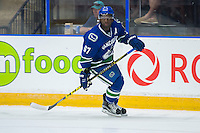PENTICTON, CANADA - SEPTEMBER 16: Jordan Subban #67 of Vancouver Canucks skates against the Edmonton Oilers on September 16, 2016 at the South Okanagan Event Centre in Penticton, British Columbia, Canada.  (Photo by Marissa Baecker/Shoot the Breeze)  *** Local Caption *** Jordan Subban;