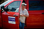 The Rev. Steve Misch, disaster relief coordinator for the LCMS Texas District, arrives Thursday, Aug. 31, 2017, at a residential neighborhood damaged by Hurricane Harvey in Rockport, Texas. LCMS Communications/Erik M. Lunsford
