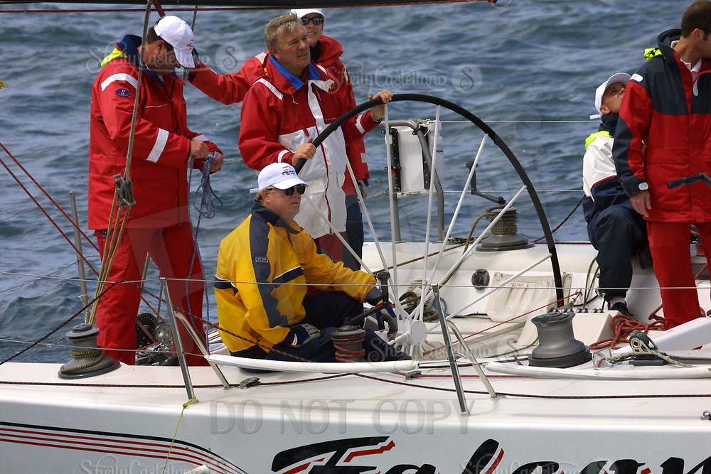 Apr 26, 2002; Newport Beach, California, USA; Skipper ERNIE PENNELL of the 'Falcon' at the start of the 55th annual 125 mile Newport to Ensenada Yacht Race. Mandatory Credit: Photo by Shelly Castellano/ZUMA PRESS. (©) Copyright 2002 by Shelly Castellano