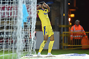 AFC Wimbledon striker (on loan from Luton Town) Jake Jervis (10) scores a goal and celebrates 0-2 during the EFL Sky Bet League 1 match between Wycombe Wanderers and AFC Wimbledon at Adams Park, High Wycombe, England on 22 December 2018.