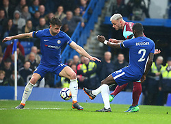 April 8, 2018 - London, England, United Kingdom - L-R Chelsea's Gary Cahill, West Ham United's Marko Arnautovic and Chelsea's Antonio Rudiger.during English Premier League match between Chelsea and West Ham United at Stamford Bridge, London, England on 08 April 2018. (Credit Image: © Kieran Galvin/NurPhoto via ZUMA Press)