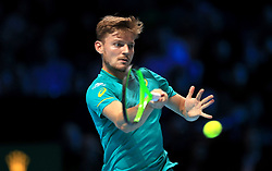 David Goffin in action during singles match during day four of the NITTO ATP World Tour Finals at the O2 Arena, London.