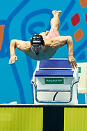 Ashgabat, Turkmenistan - 2017 September 24: Ka Ho Kwong from Hong Kong competes in Men's 50m Butterfly Heat 5 while Short Course Swimming competition during 2017 Ashgabat 5th Asian Indoor & Martial Arts Games at Aquatics Centre (AQC) at Ashgabat Olympic Complex on September 24, 2017 in Ashgabat, Turkmenistan.<br /> <br /> Photo by © Adam Nurkiewicz / Laurel Photo Services