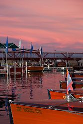 """Tahoe Concours d'Elegance Sunset 2"" - Photograph of classic wooden boats from the 2011 Tahoe Concours d'Elegance at sunset."