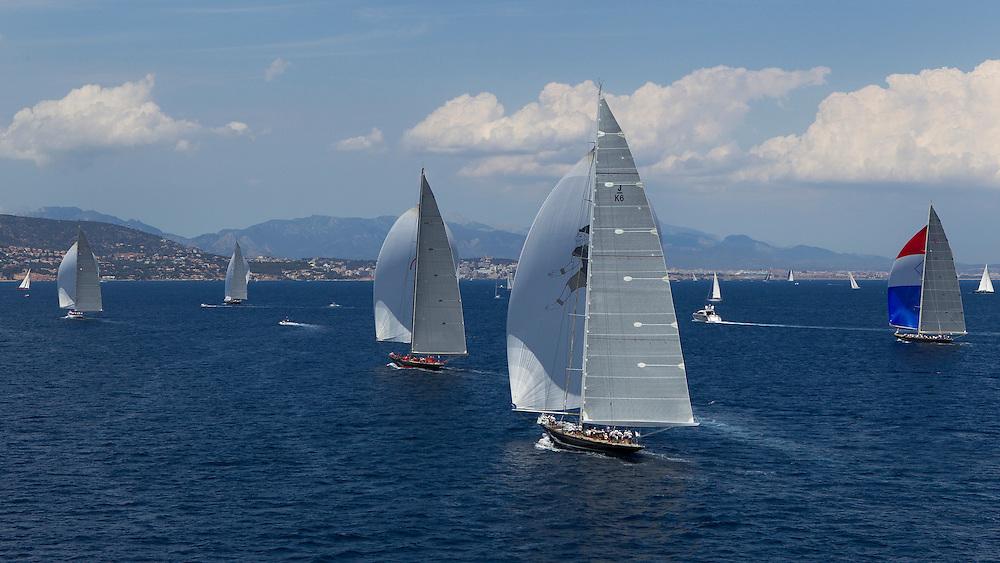 SPAIN, Palma. 21st June 2013. Superyacht Cup. J Class. Race three, coastal race. L-R, Ranger, Lionheart, Rainbow, Hanuman, Velsheda.