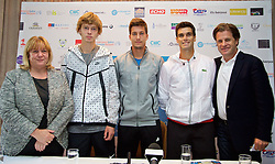 LIVERPOOL, ENGLAND - Thursday, June 18, 2015: Liverpool Labour's Cabinet member for Culture and Tourism Councillor Wendy Simon, Andrey Rublev (RUS), Aljaz Bedene (GBR), Pablo Andujar (ESP) and Tournament Director Anders Borg during a press conference on Day 1 of the Liverpool Hope University International Tennis Tournament at Liverpool Cricket Club. (Pic by David Rawcliffe/Propaganda)