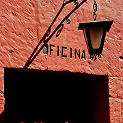 "Graceful entrance to Monasterio Santa Catalina in the ""White City"" of Arequipa, Peru."