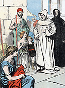Gregory I, The Great (c540-604) Pope from 590. Seeing Anglo-Saxon children in slave market in Rome and calling them 'Angels not Angles'.  Sent Augustine as missionary to England. Colour-printed illustration c1900.