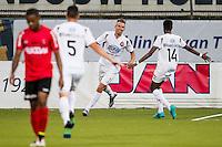 VELSEN - 22-08-2016, Telstar - Helmond Sport, Rabobank IJmond Stadion, 4-2, SC Telstar speler Fabian Serrarens (2vr) heeft de 3-0 gescoord, SC Telstar speler Liban Abdulahi (r).