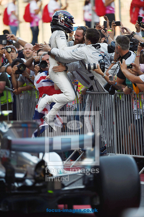 Lance Stroll of Williams Martini celebrates third position in the Azerbaijan Formula One Grand Prix at Baku City Circuit, Baku<br /> Picture by EXPA Pictures/Focus Images Ltd 07814482222<br /> 25/06/2017<br /> *** UK & IRELAND ONLY ***<br /> <br /> EXPA-EIB-170625-0052.jpg