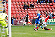 Portsmouth's Curtis Main gets his shot away during the EFL Sky Bet League 2 match between Crewe Alexandra and Portsmouth at Alexandra Stadium, Crewe, England on 13 August 2016. Photo by Craig Galloway.