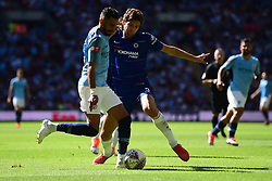 Riyad Mahrez of Manchester City battles for the ball with Marcos Alonso of Chelsea - Mandatory by-line: Alex James/JMP - 05/08/2018 - FOOTBALL - Wembley Stadium - London, England - Manchester City v Chelsea - FA Community Shield