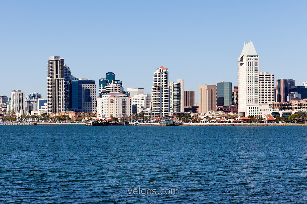 High Resolution Photo Of San Diego Skyline With Waterfront Downtown City Buildings During The Day Accross