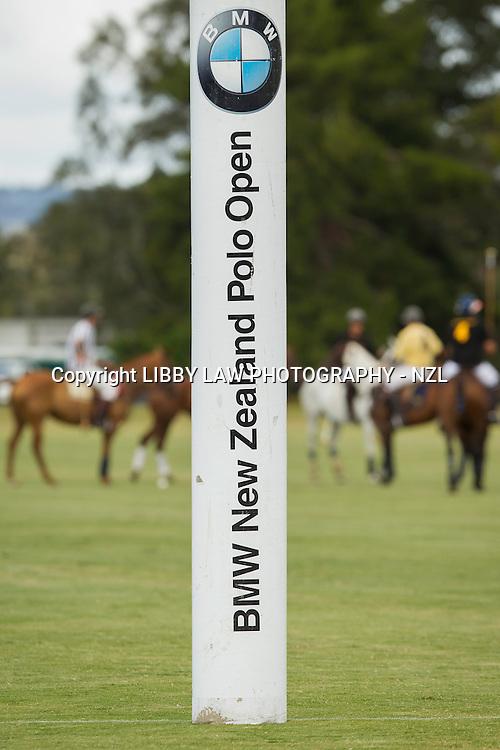2014 NZL-BMW Polo Open: Clevedon - GAME 1: VEUVE CLIQUOT (Black) vs SOUTHFIELD (Yellow): VEUVE CLIQUOT WIN: 11/2:  (Sunday 23 February) CREDIT: Libby Law/Photosport COPYRIGHT: LIBBY LAW PHOTOGRAPHY - NZL