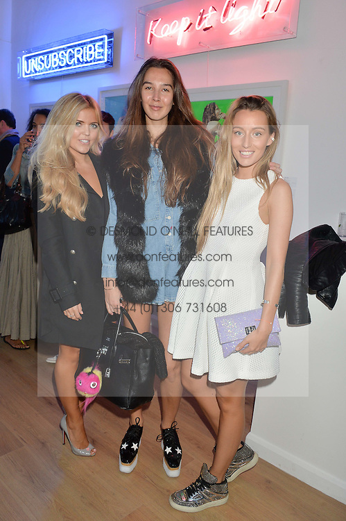 Left to right, MIJANOU DILKS, ESTELLE PIGAULT and ALEXANDRA BAYLEY at a private view of an exhibition entitled 'All Shook Up' - by Natasha Archdale: A Retrospective held at 90 Piccadilly, London on 23rd April 2015.