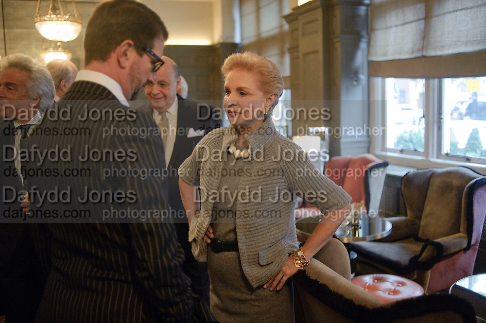 COUNT MANFREDI DELLA GHEREDESCA; CAROLINA HERRERA;, Graydon and Anna Carter host a lunch for Carolina Herrera to celebrate the ipening of her new shop on Mount St. .The Connaught. London. 20 January 2010