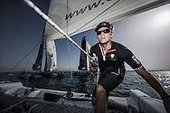 The Extreme Sailing Series 2014. Act 2. Muscat. <br /> Oman Air bowman - Tom Johnson<br /> Credit - Lloyd Images