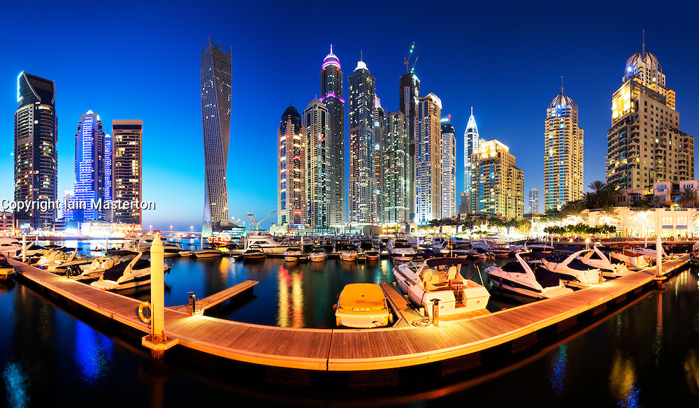 Night panoramic skyline view of  skyscrapers at Marina in New Dubai district United Arab Emirates