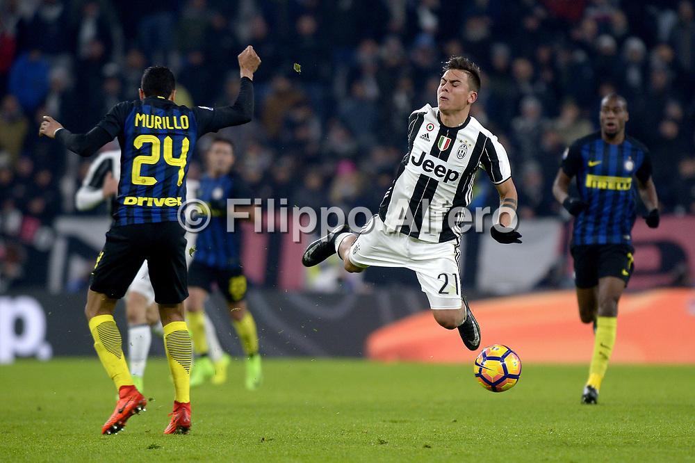 &copy; Filippo Alfero<br /> Juventus-Inter, Serie A 2016/2017<br /> Torino, 05/02/2017<br /> sport calcio<br /> Nella foto: Jeison Murillo Inter, Paulo Dybala Juventus