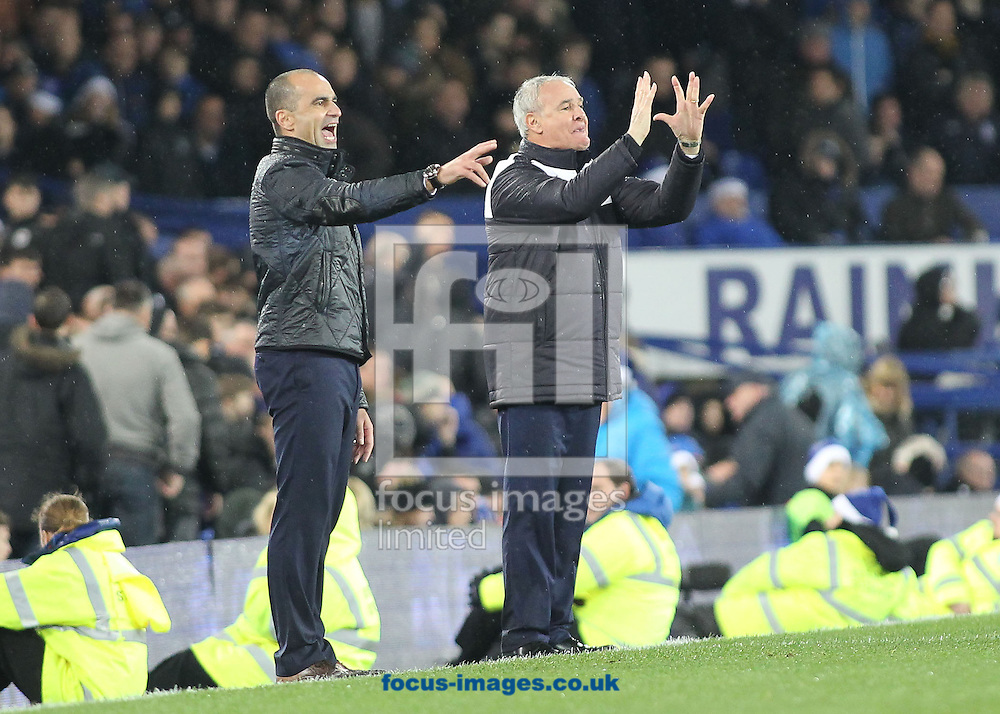 Roberto Martinez manager of Everton and Claudio Ranieri manager of Leicester City on the touchline during the Barclays Premier League match against Leicester City at Goodison Park, Liverpool.<br /> Picture by Michael Sedgwick/Focus Images Ltd +44 7900 363072<br /> 19/12/2015