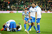Portsmouth defender Anton Walkes (2) celebrates Portsmouth midfielder André Green's late goal with the fans during the The FA Cup 3rd round match between Norwich City and Portsmouth at Carrow Road, Norwich, England on 5 January 2019.