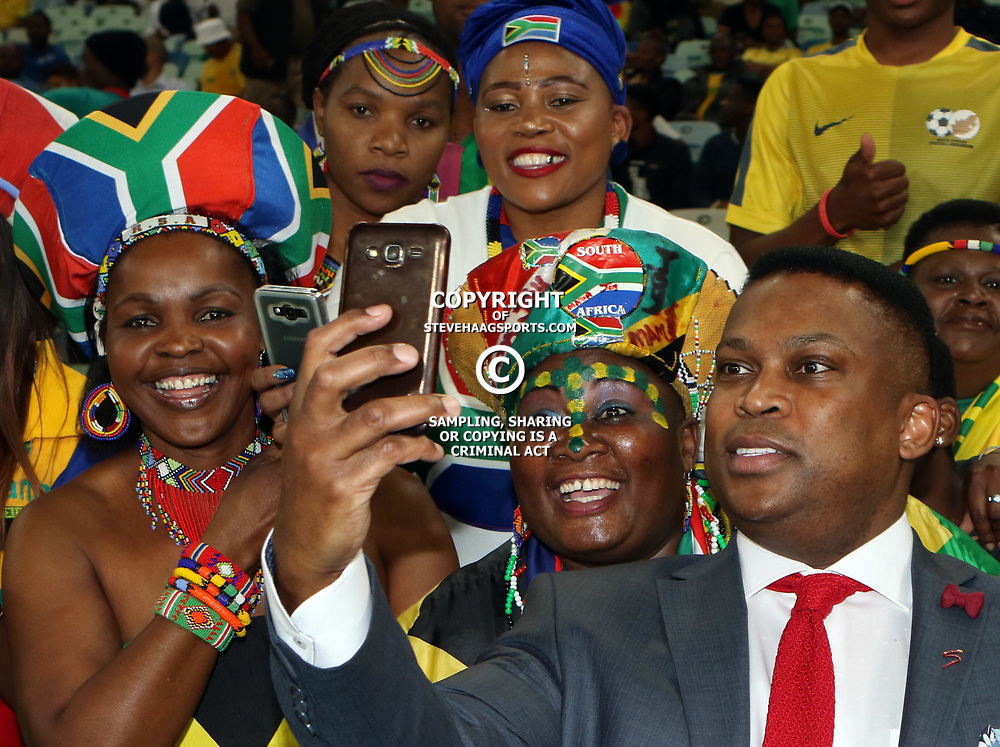 General views of fans with Robert Marawa during the 2018 Football World Cup qualifier  match between South Africa (Bafana Bafana)  and Cape Verde Islands,at the Moses Mabhida Stadium in Durban South Africa Tuesday, September 5,2017.  (Photo by Steve Haag)