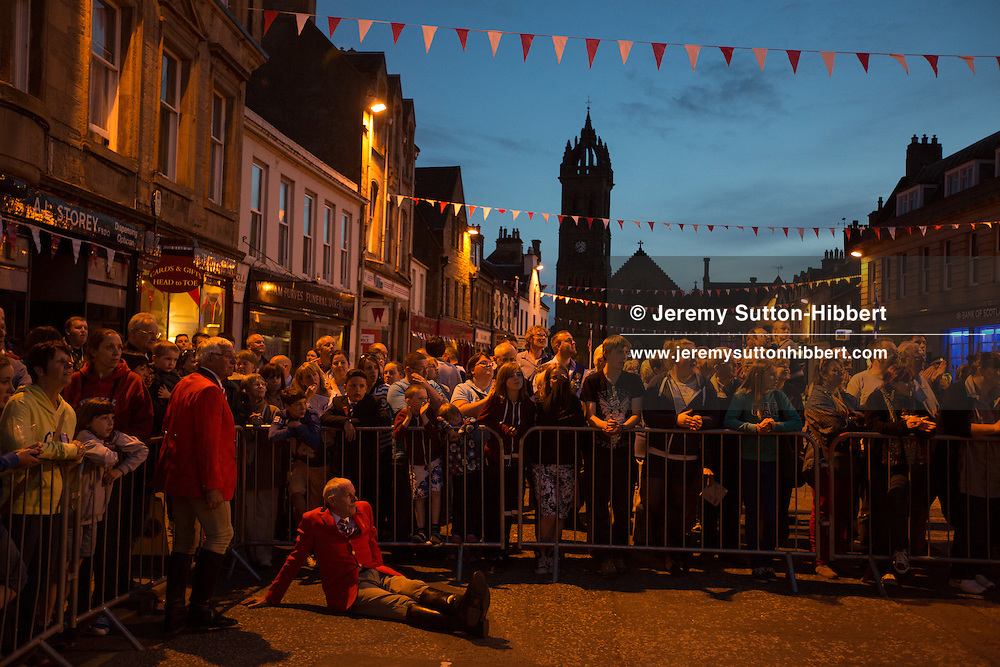 Dancing of the Cornet's Reel, in the High Street, at The Peebles Beltane Festival, including their Common Riding of the Marches, with Cornet Daniel Williamson, and Cornets Elect Lass Susan Thomson, in Peebles, Scotland, Wednesday 19th June 2013. <br /> N55&deg;39.088'<br /> W3&deg;11.449'