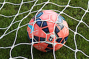 The bespoke FA Cup Nike Ordem Football rests in the goal before the match between Portsmouth and Aldershot Town at Fratton Park, Portsmouth, England on 9 November 2014.