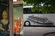 Royal faces from an old empire with a three year-old Maria Theresia and a portrait of some of her 16 children (incl Marie Antoinette) with a modern day Austria outside Schloss Schonbrunn (palace) on 27th June 2016, in Vienna, Austria. The cruise line image is for the Viking Line whose tourists are inside the nearby royal apartments. Maria Theresa Walburga Amalia Christina (1717–1780) was the only female ruler of the Habsburg dominions and the last of the House of Habsburg. She was the sovereign of Austria, Hungary, Croatia, Bohemia, Transylvania, Mantua, Milan, Lodomeria and Galicia, the Austrian Netherlands and Parma.