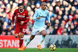 Joao Mario of West Ham United takes on Emre Can of Liverpool of West Ham United - Mandatory by-line: Matt McNulty/JMP - 24/02/2018 - FOOTBALL - Anfield - Liverpool, England - Liverpool v West Ham United - Premier League