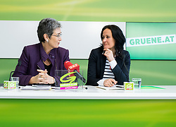 "06.03.2017, Grüner Parlamentsklub, Wien, AUT, Grüne, Pressekonferenz mit dem Titel ""Die unsolidarische EU-Politik der Regierung und aktuelle frauenpolitische Fragen"". im Bild v.l.n.r. Delegationsleiterin der österreichischen Grünen im EU Parlament Ulrike Lunacek und Grüne Klubobfrau Eva Glawischnig // f.l.t.r. MEP and Vice-President of the European Parliament Ulrice Lunacek (Group of the Greens/ European Free Alliance) and Leader of the parliamentary group the greens Eva Glawischnig <br /> during press conference of the parliamentary group the greens in Vienna, Austria on 2017/03/06. EXPA Pictures © 2017, PhotoCredit: EXPA/ Michael Gruber"